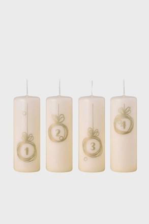Sada 4 adventních svíček Zlatá koulička