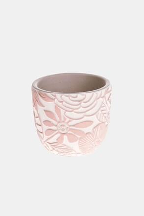 Betonový květináč růžový