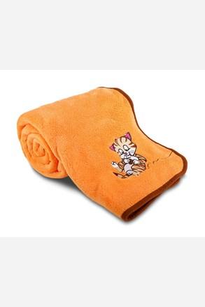 Dětská deka s výšivkou oranžová