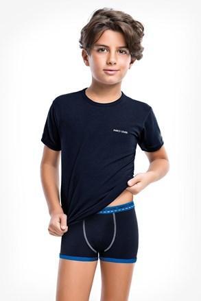 Modrý komplet chlapeckých boxerek a trička