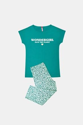 Dívčí pyžamo Save planet zelené