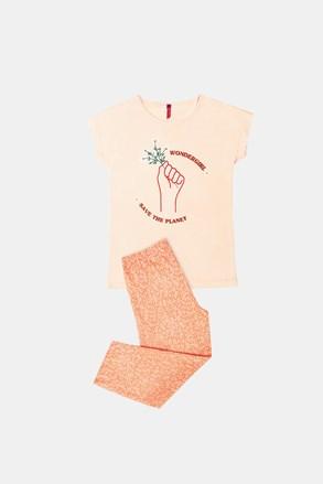 Dívčí pyžamo Save planet oranžové