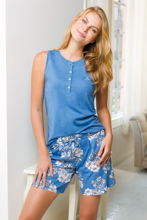Dámský krátký pyžamový komplet modrý