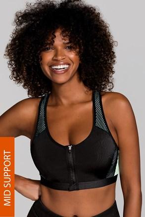 Sportovní podprsenka Fast Black bez kostic s předním zapínáním