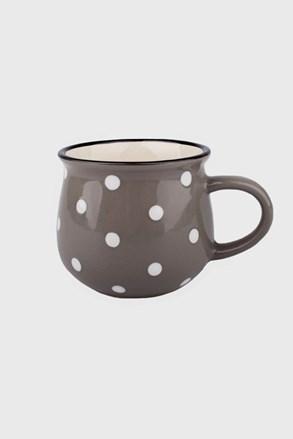Malý keramický hrnek s puntíky šedý 230 ml