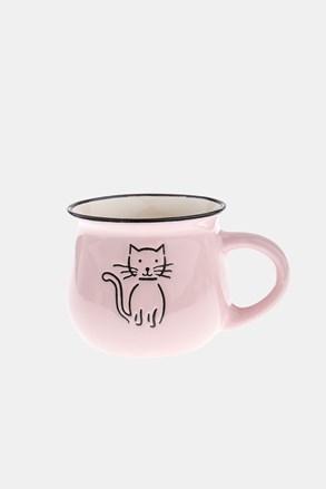 Keramický hrnek s kočkou růžový 368 ml