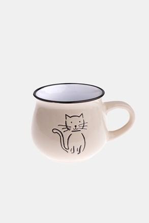 Keramický hrnek s kočkou krémový 213 ml