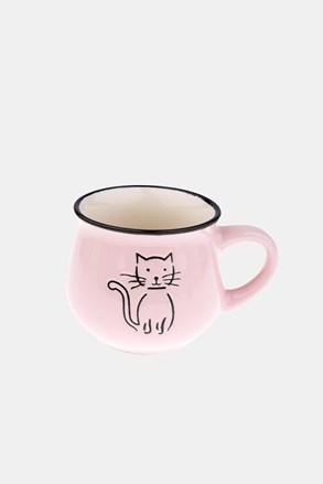 Keramický hrnek s kočkou růžový 213 ml