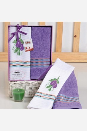 Dárková sada ručníku a utěrky Mimosa lilek