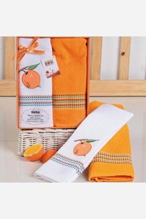 Dárková sada ručníku a utěrky Mimosa pomeranč