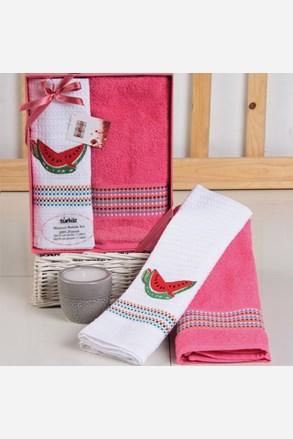 Dárková sada ručníku a utěrky Mimosa meloun