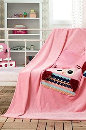 Dětský polštářek a deka v 1  Sova růžová