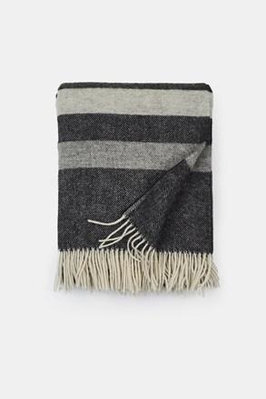 Luxusní vlněná deka Stripe šedá