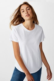 Dámské basic triko s krátkým rukávem Crew bílá