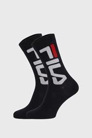 2 PACK černých vysokých ponožek FILA