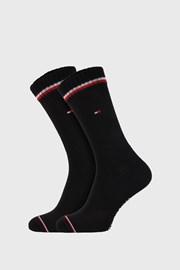 2 PACK černých vysokých ponožek Tommy Hilfiger Iconic