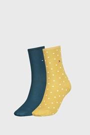 2 PACK žlutých dámských ponožek Tommy Hilfiger Dot