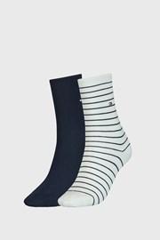 2 PACK modrobílých dámských ponožek Tommy Hilfiger Stripes