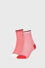 2 PACK dámských ponožek Tommy Hilfiger Honeycomb Red