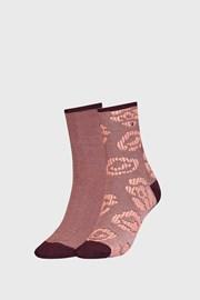 2 PACK dámských hnědých ponožek Tommy Hilfiger Flower