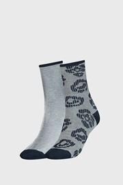 2 PACK dámských modrých ponožek Tommy Hilfiger Flower
