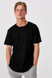 Černé tričko Henley