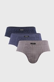 3 PACK sivo-modrých slipov Classic