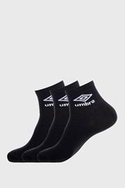 3 PACK černých kotníkových ponožek Umbro