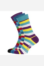 3 PACK barevných ponožek Meatfly Dark Small Stripe