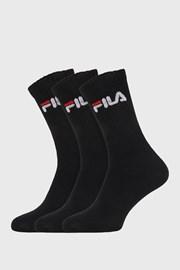 3 PACK černých vysokých ponožek FILA