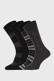 4 PACK černošedých ponožek Tommy Hilfiger