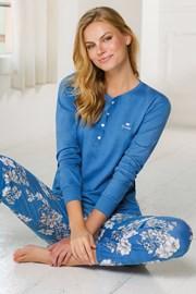 Dámský dlouhý pyžamový komplet modrý