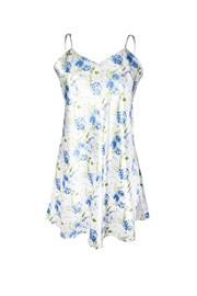 Krátká saténová košilka Flowers modrá