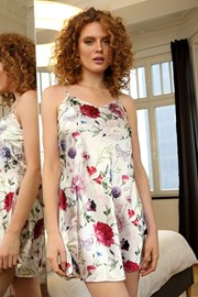 Коротка атласна сорочка Flowers біла