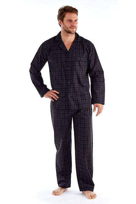 Harvey James Pánské pyžamo Harvey Black Check Long černá M