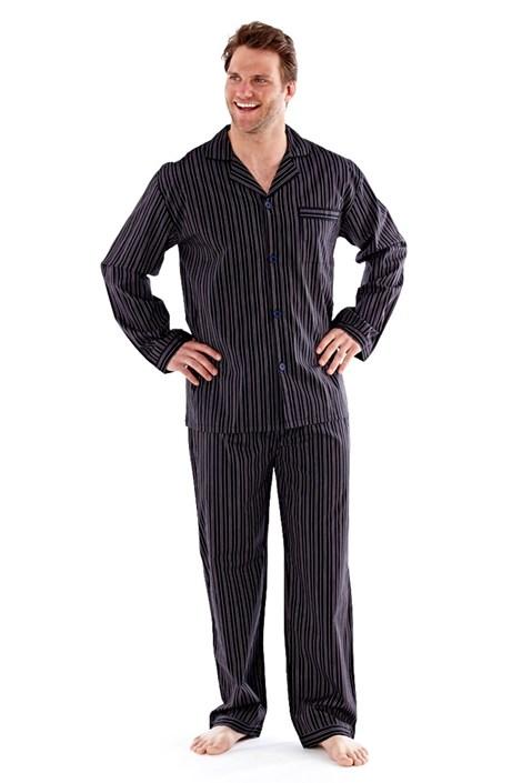 Harvey James Pánské pyžamo Harvey Black Stripe Long černá L