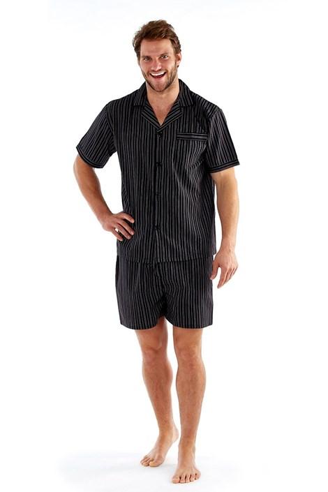 Harvey James Pánské pyžamo Harvey Black  Stripe černá XL