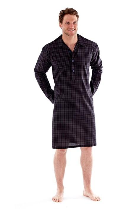 Harvey James Pánská noční košile Harvey Black Check černá M