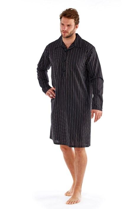 Harvey James Pánská noční košile Harvey Black Stripe černá M
