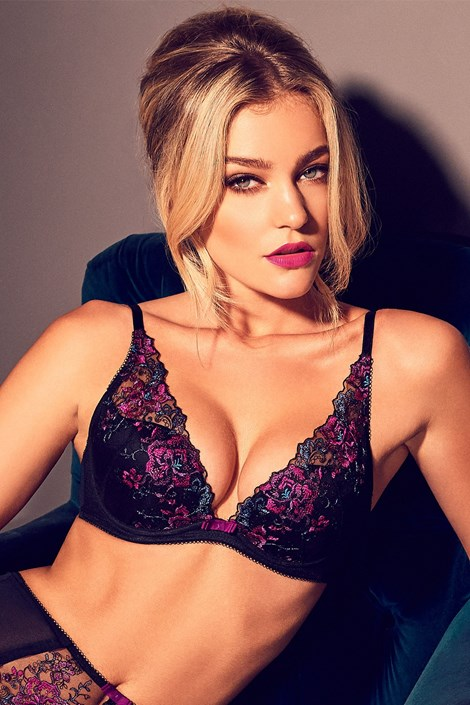 Gossard Podprsenka Floral Attraction Push-Up černofialová 70/A