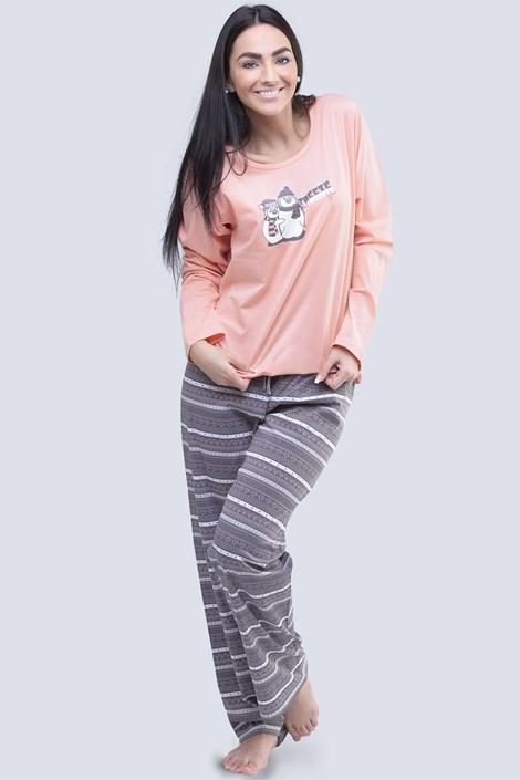 Gina Dámské bavlněné pyžamo Penguin starorůžová XL