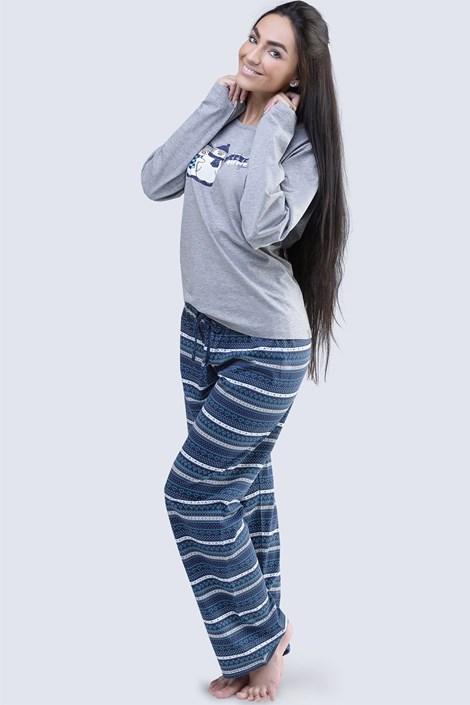 Gina Dámské bavlněné pyžamo Penguin šedé šedá XL
