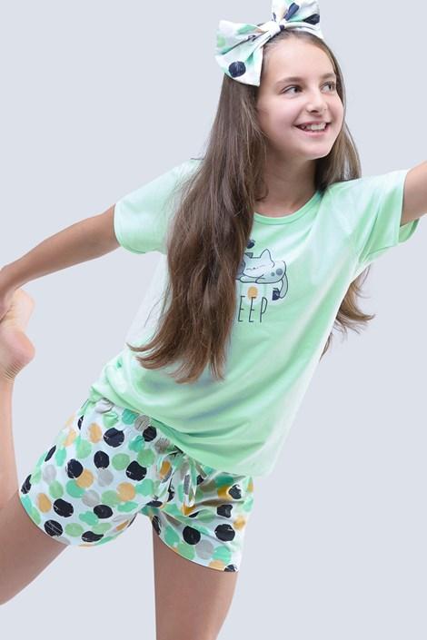 Gina Dívčí letní pyžamo Cats aqua zelená 152/158