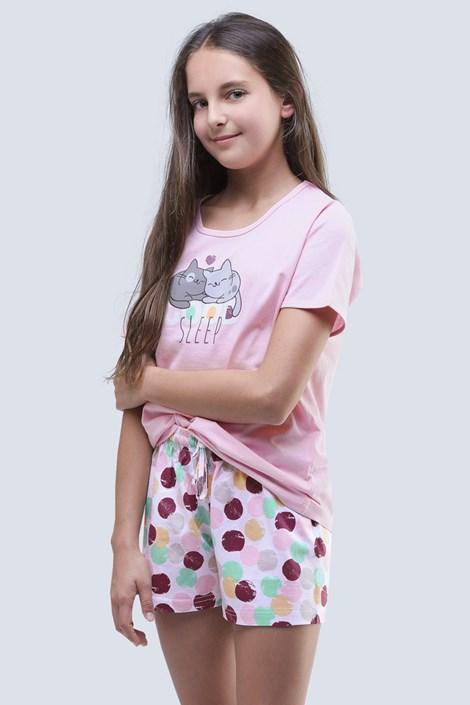 Gina Dívčí letní pyžamo Cats růžové růžová 152/158