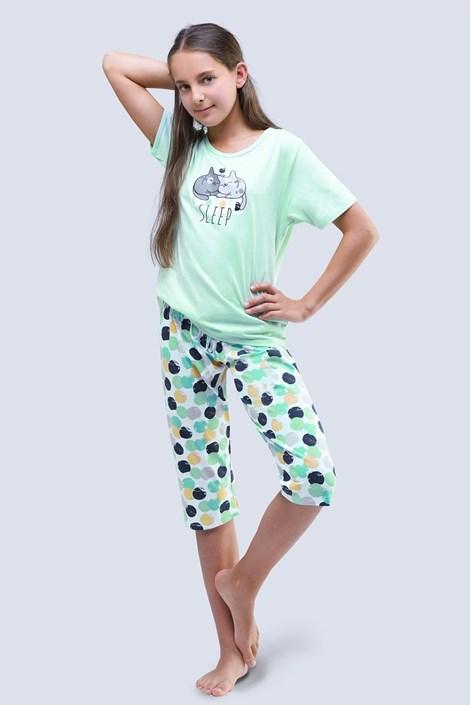 Gina Dívčí pyžamo Cats aqua zelená 152/158