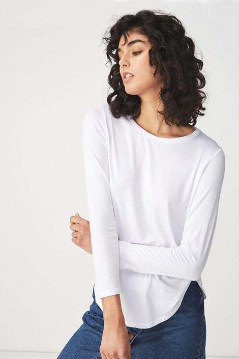 Dámské basic triko s dlouhým rukávem Kathleen bílá