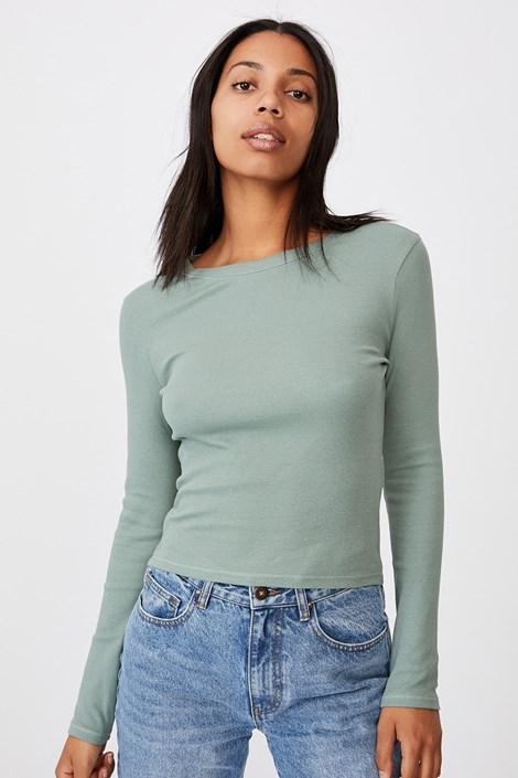 Dámské basic triko s dlouhým rukávem Turn zelená