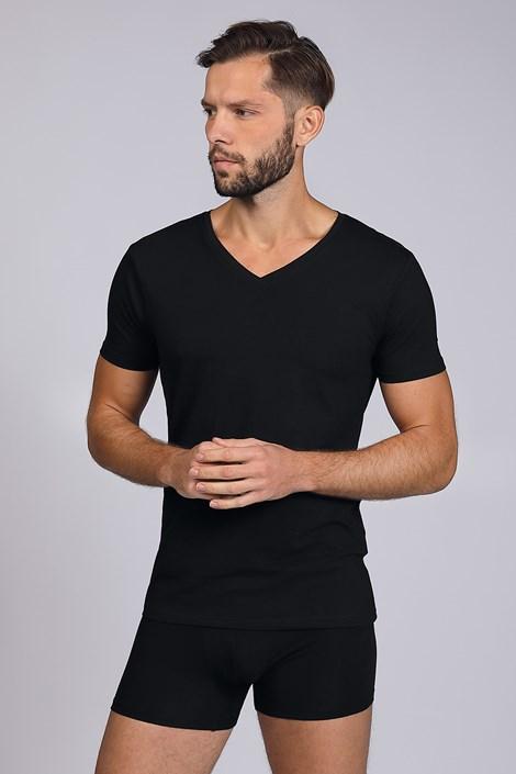 Černé tričko s V výstřihem Cotton Nature
