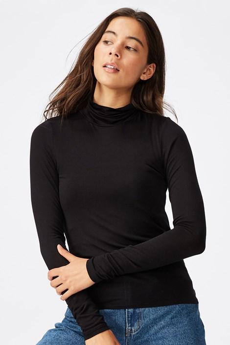 Fekete női póló garbóval