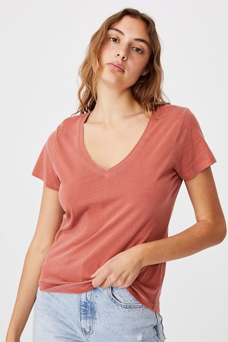 Dámské basic triko s krátkým rukávem One cihlová